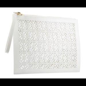 Tory Burch White Perfume Pocket Envelope Pouch Bag